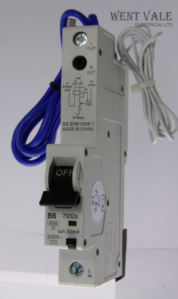 MK Sentry - 7932s - 6a 30mA Type B Single Pole RCBO Used